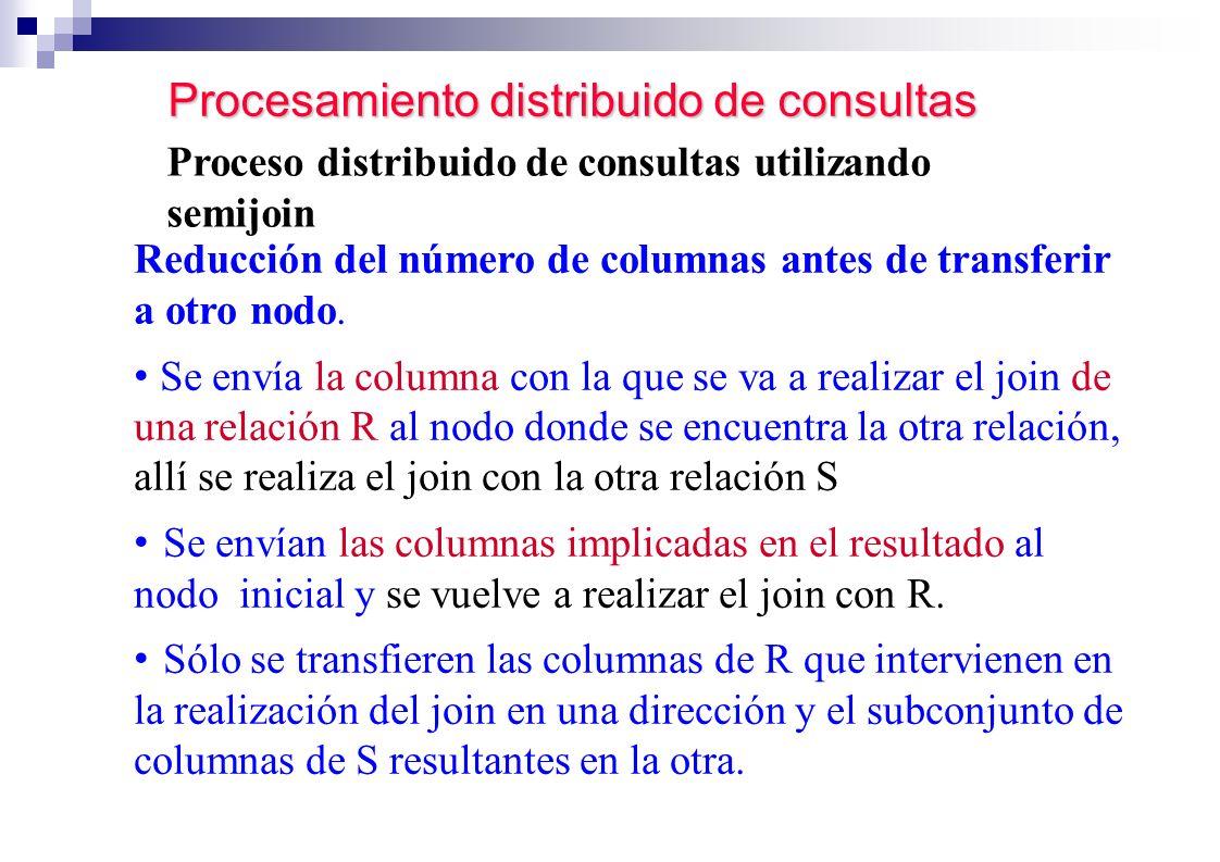 Procesamiento distribuido de consultas Proceso distribuido de consultas utilizando semijoin Reducción del número de columnas antes de transferir a otr