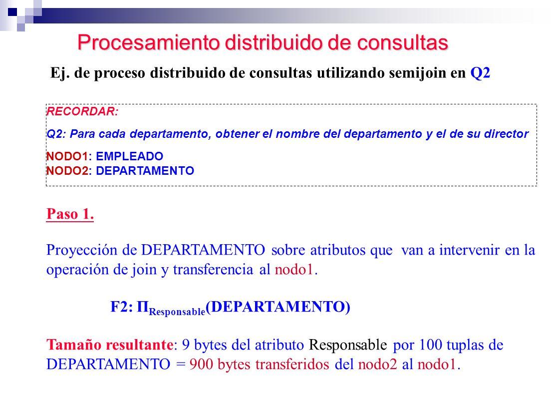 Procesamiento distribuido de consultas Ej. de proceso distribuido de consultas utilizando semijoin en Q2 RECORDAR: Q2: Para cada departamento, obtener
