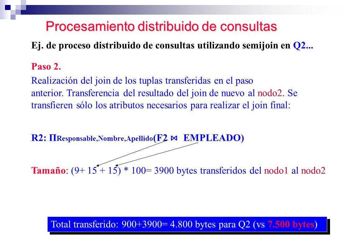Procesamiento distribuido de consultas Paso 2. Realización del join de los tuplas transferidas en el paso anterior. Transferencia del resultado del jo