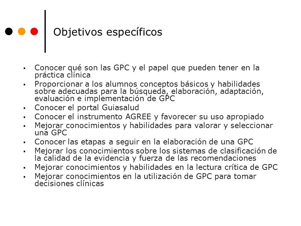 Objetivos específicos Conocer qué son las GPC y el papel que pueden tener en la práctica clínica Proporcionar a los alumnos conceptos básicos y habili