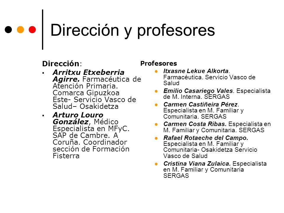 Dirección y profesores Dirección: Arritxu Etxeberria Agirre. Farmacéutica de Atención Primaria. Comarca Gipuzkoa Este- Servicio Vasco de Salud– Osakid