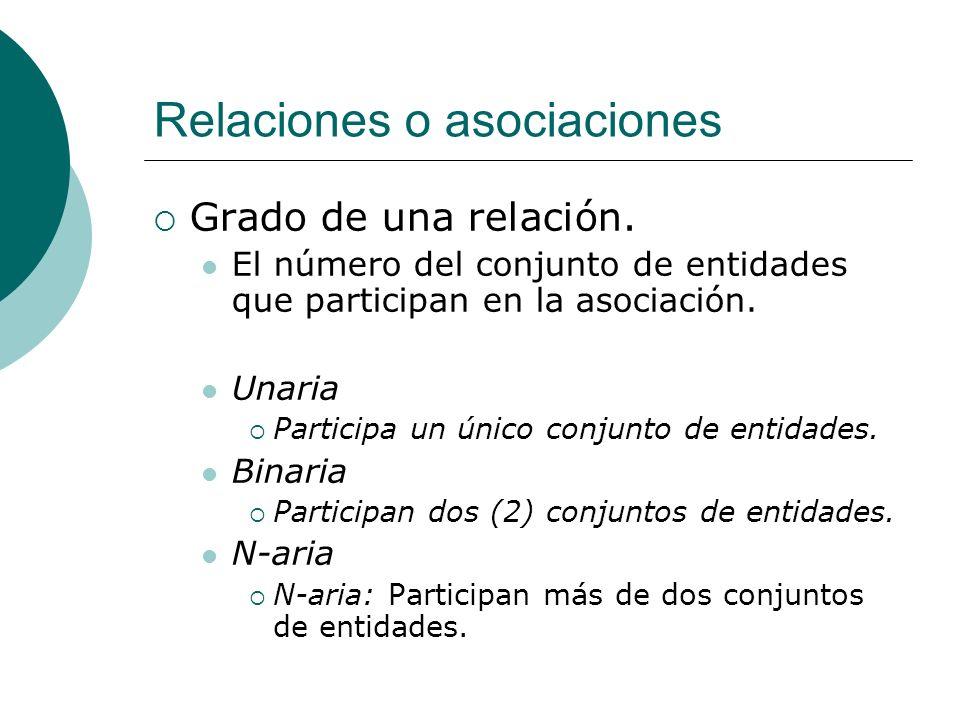 Relaciones o asociaciones Grado de una relación. El número del conjunto de entidades que participan en la asociación. Unaria Participa un único conjun