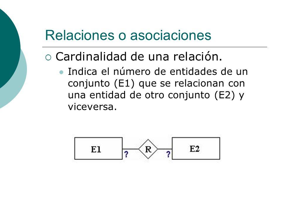 Relaciones o asociaciones Cardinalidad de una relación. Indica el número de entidades de un conjunto (E1) que se relacionan con una entidad de otro co