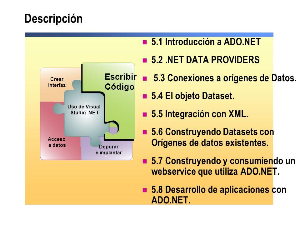 Descripción 5.1 Introducción a ADO.NET 5.2.NET DATA PROVIDERS 5.3 Conexiones a orígenes de Datos. 5.4 El objeto Dataset. 5.5 Integración con XML. 5.6
