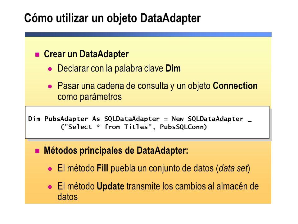 Cómo utilizar un objeto DataAdapter Crear un DataAdapter Declarar con la palabra clave Dim Pasar una cadena de consulta y un objeto Connection como pa