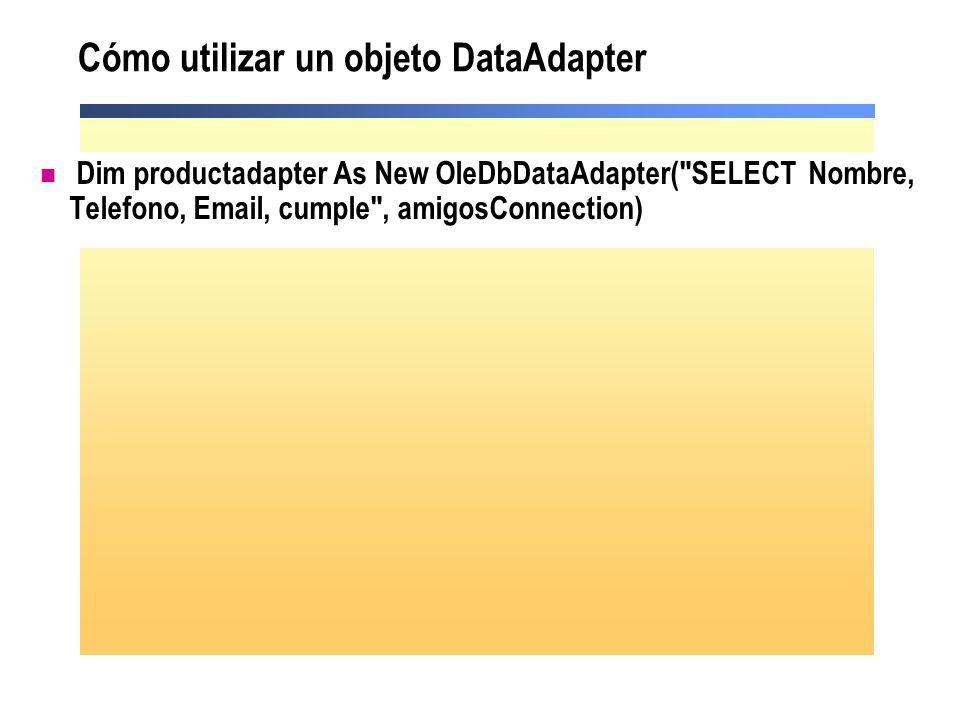 Cómo utilizar un objeto DataAdapter Dim productadapter As New OleDbDataAdapter(