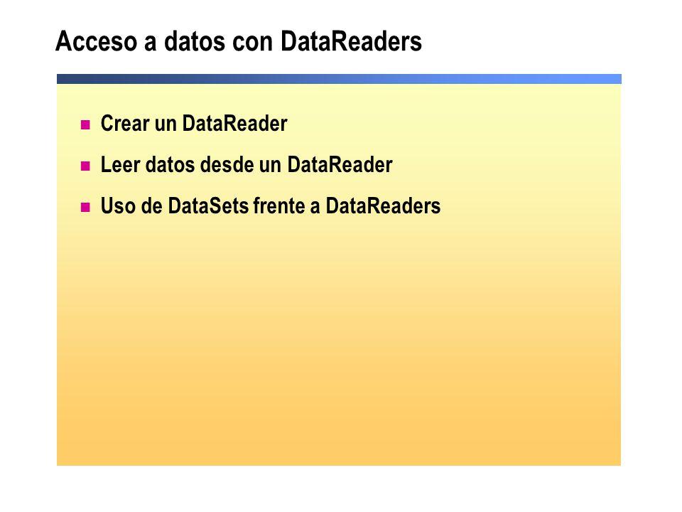 Acceso a datos con DataReaders Crear un DataReader Leer datos desde un DataReader Uso de DataSets frente a DataReaders