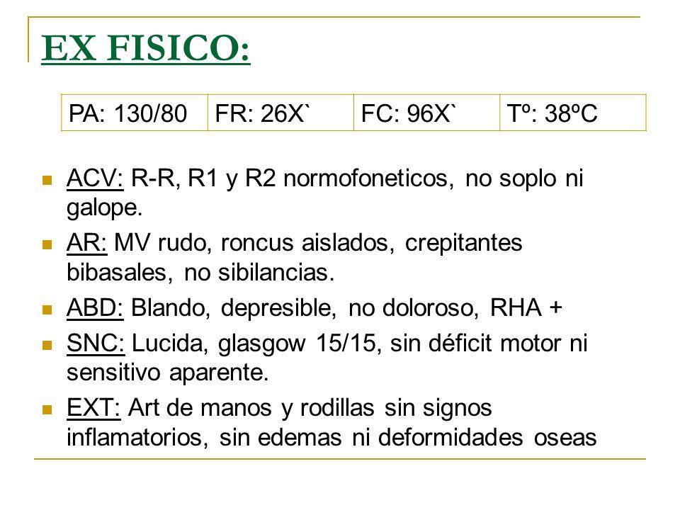 EX FISICO: ACV: R-R, R1 y R2 normofoneticos, no soplo ni galope.