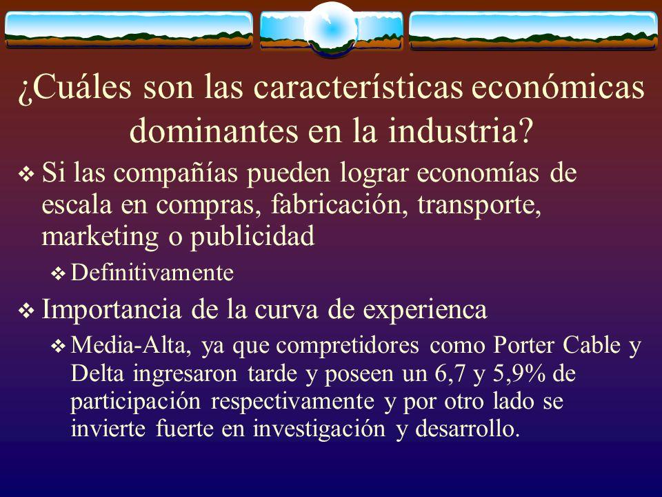 ¿Cuáles son las características económicas dominantes en la industria? Si las compañías pueden lograr economías de escala en compras, fabricación, tra