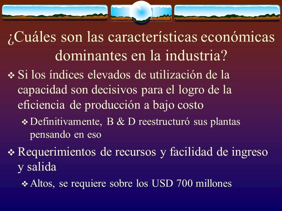 ¿Cuáles son las características económicas dominantes en la industria? Si los índices elevados de utilización de la capacidad son decisivos para el lo
