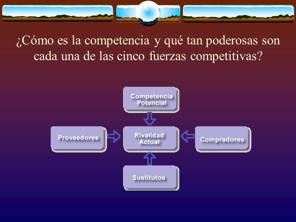 ¿Cómo es la competencia y qué tan poderosas son cada una de las cinco fuerzas competitivas?