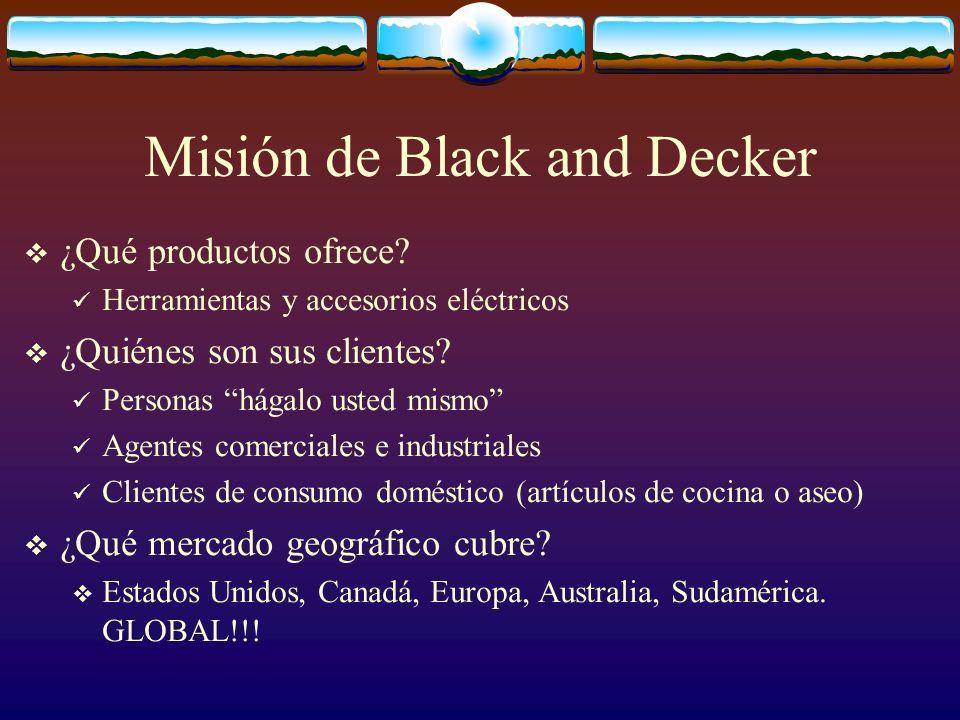 Misión de Black and Decker ¿Qué productos ofrece? Herramientas y accesorios eléctricos ¿Quiénes son sus clientes? Personas hágalo usted mismo Agentes