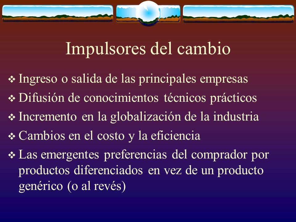 Impulsores del cambio Ingreso o salida de las principales empresas Difusión de conocimientos técnicos prácticos Incremento en la globalización de la i