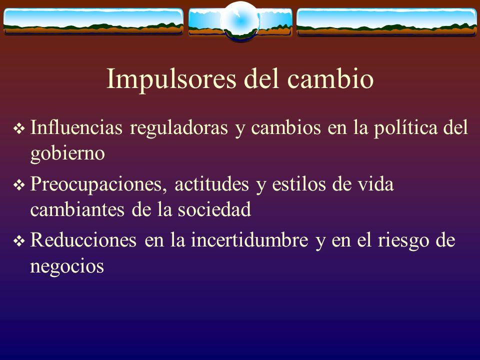 Impulsores del cambio Influencias reguladoras y cambios en la política del gobierno Preocupaciones, actitudes y estilos de vida cambiantes de la socie