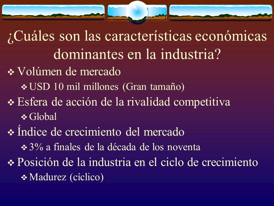 ¿Cuáles son las características económicas dominantes en la industria? Volúmen de mercado USD 10 mil millones (Gran tamaño) Esfera de acción de la riv