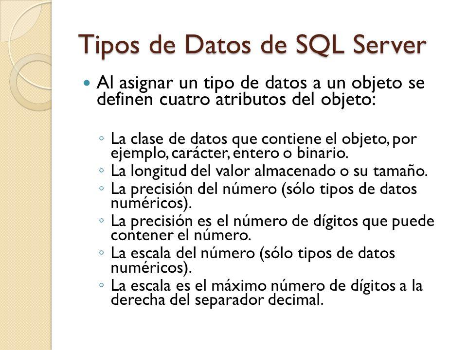 Tipos de Datos de SQL Server Al asignar un tipo de datos a un objeto se definen cuatro atributos del objeto: La clase de datos que contiene el objeto,
