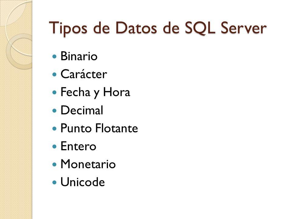 Tipos de Datos de SQL Server Binario Carácter Fecha y Hora Decimal Punto Flotante Entero Monetario Unicode