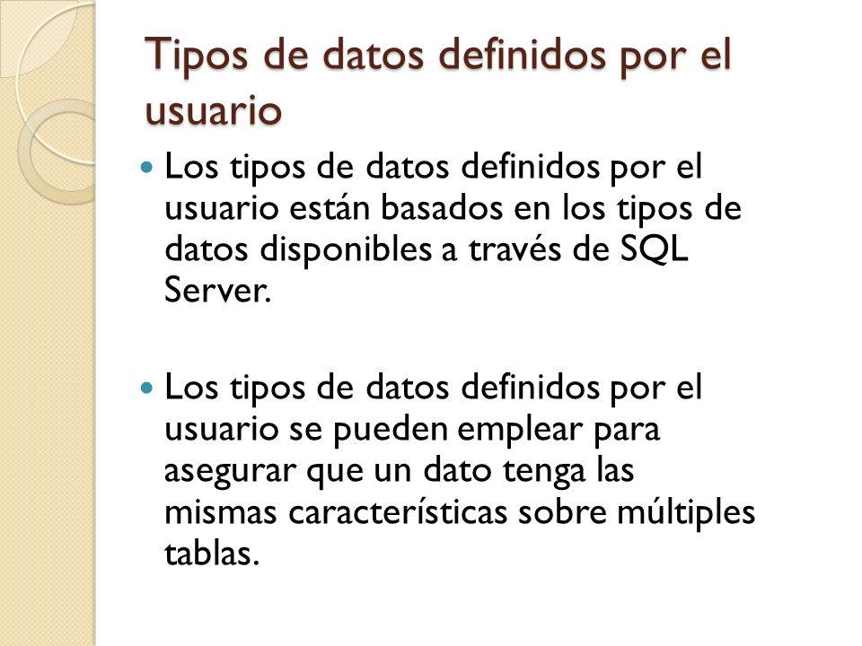 Tipos de datos definidos por el usuario Los tipos de datos definidos por el usuario están basados en los tipos de datos disponibles a través de SQL Se