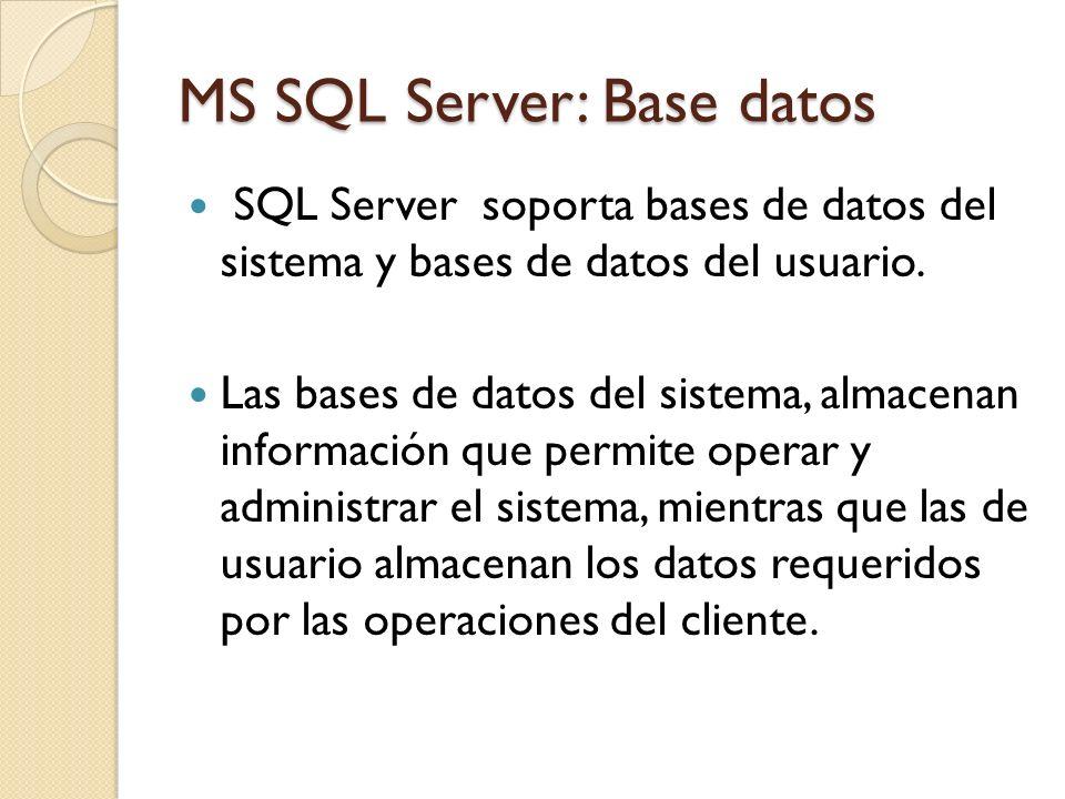 MS SQL Server: Base datos SQL Server soporta bases de datos del sistema y bases de datos del usuario. Las bases de datos del sistema, almacenan inform