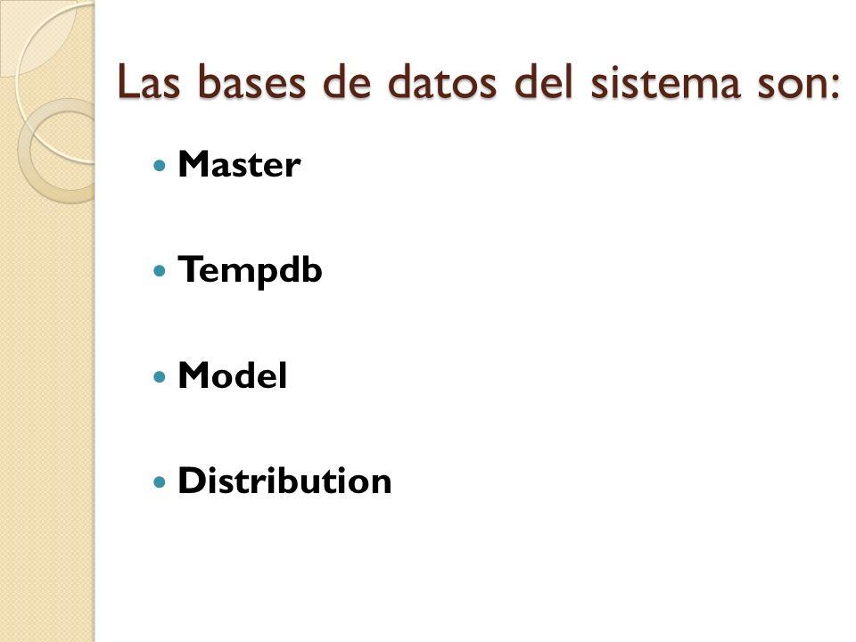 Las bases de datos del sistema son: Master Tempdb Model Distribution