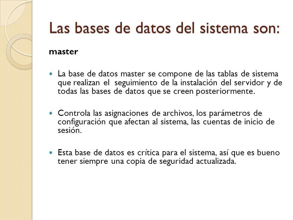master La base de datos master se compone de las tablas de sistema que realizan el seguimiento de la instalación del servidor y de todas las bases de