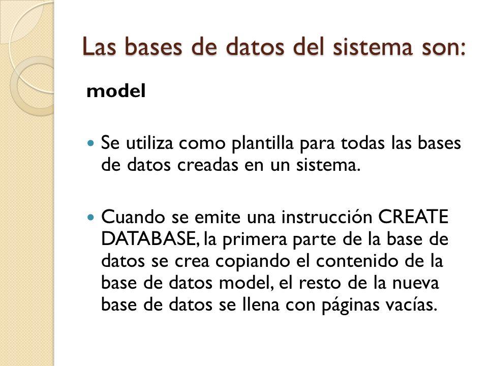 model Se utiliza como plantilla para todas las bases de datos creadas en un sistema. Cuando se emite una instrucción CREATE DATABASE, la primera parte
