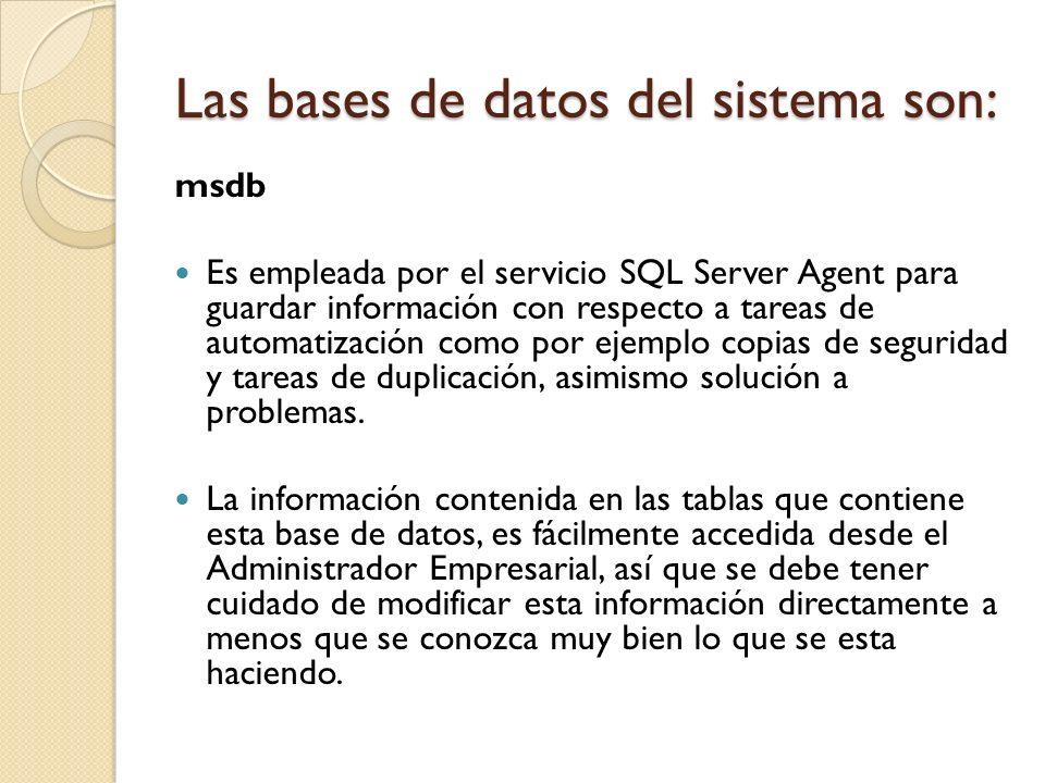 msdb Es empleada por el servicio SQL Server Agent para guardar información con respecto a tareas de automatización como por ejemplo copias de segurida
