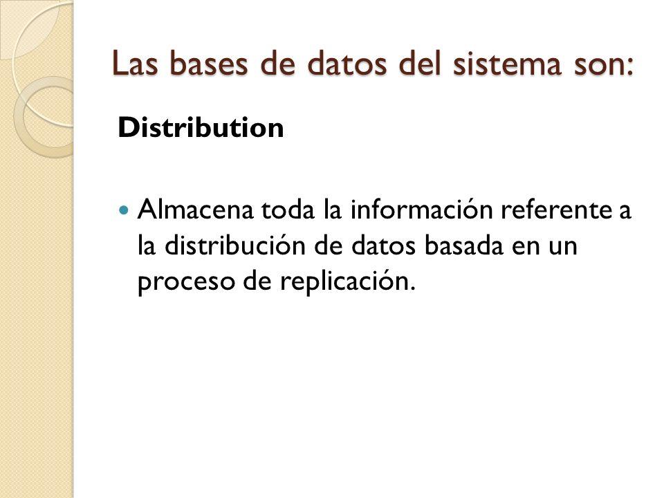 Distribution Almacena toda la información referente a la distribución de datos basada en un proceso de replicación. Las bases de datos del sistema son