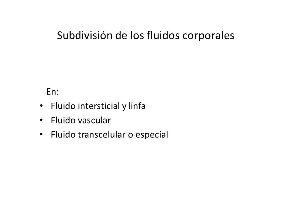 Subdivisión de los fluidos corporales En: Fluido intersticial y linfa Fluido vascular Fluido transcelular o especial