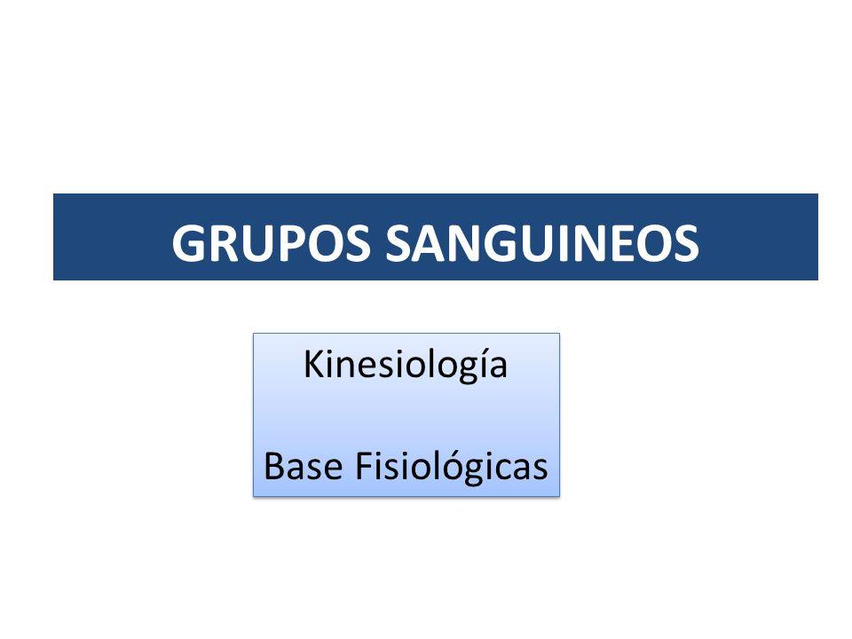 GRUPOS SANGUINEOS Kinesiología Base Fisiológicas Kinesiología Base Fisiológicas
