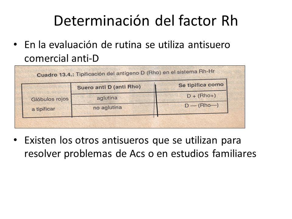 Determinación del factor Rh En la evaluación de rutina se utiliza antisuero comercial anti-D Existen los otros antisueros que se utilizan para resolve