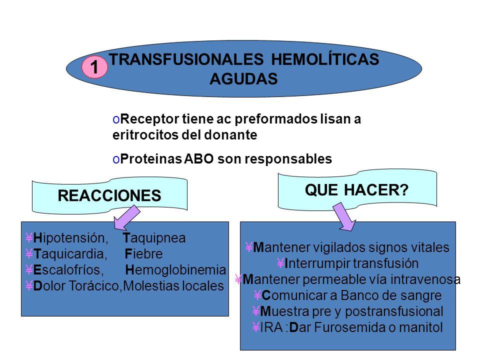 TRANSFUSIONALES HEMOLÍTICAS AGUDAS oReceptor tiene ac preformados lisan a eritrocitos del donante oProteinas ABO son responsables REACCIONES QUE HACER