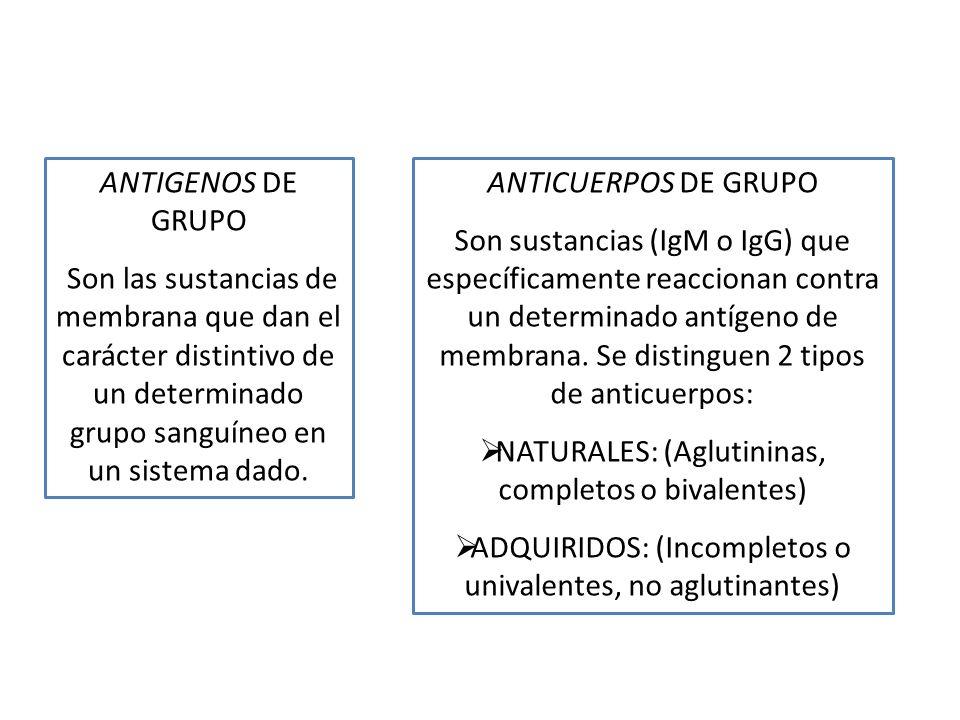 ANTIGENOS DE GRUPO Son las sustancias de membrana que dan el carácter distintivo de un determinado grupo sanguíneo en un sistema dado. ANTICUERPOS DE