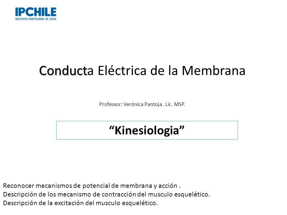 Conduct Conducta Eléctrica de la Membrana Professor: Verónica Pantoja. Lic. MSP. Kinesiologia Reconocer mecanismos de potencial de membrana y acción.