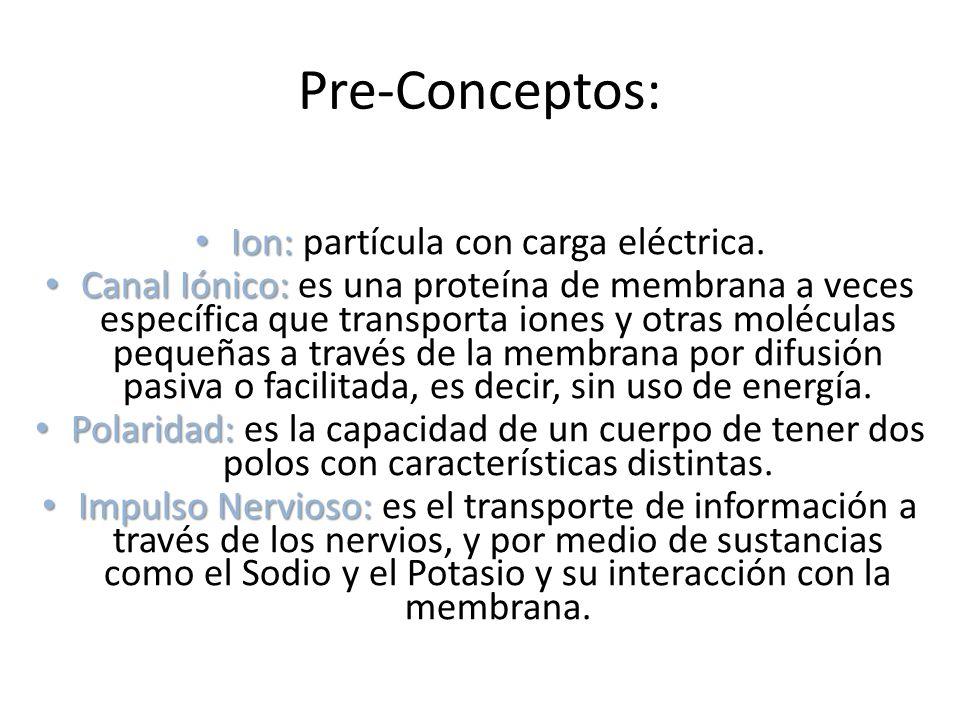 Pre-Conceptos: Ion: Ion: partícula con carga eléctrica. Canal Iónico: Canal Iónico: es una proteína de membrana a veces específica que transporta ione