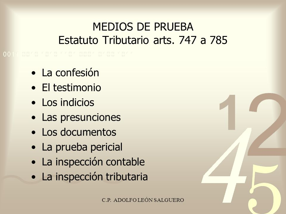C.P.ADOLFO LEÓN SALGUERO Decreto 2649 / 93, artículo 128 Parágrafo.