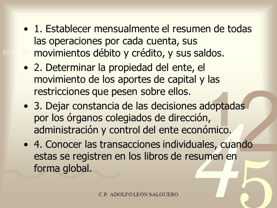 C.P. ADOLFO LEÓN SALGUERO 1. Establecer mensualmente el resumen de todas las operaciones por cada cuenta, sus movimientos débito y crédito, y sus sald