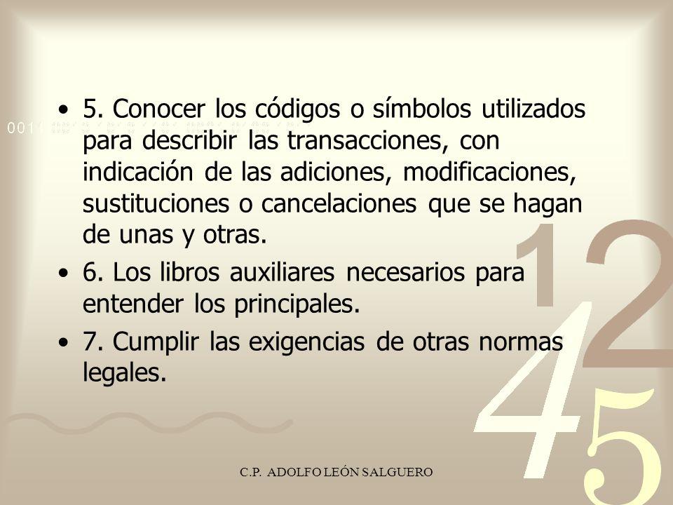 C.P. ADOLFO LEÓN SALGUERO 5. Conocer los códigos o símbolos utilizados para describir las transacciones, con indicación de las adiciones, modificacion