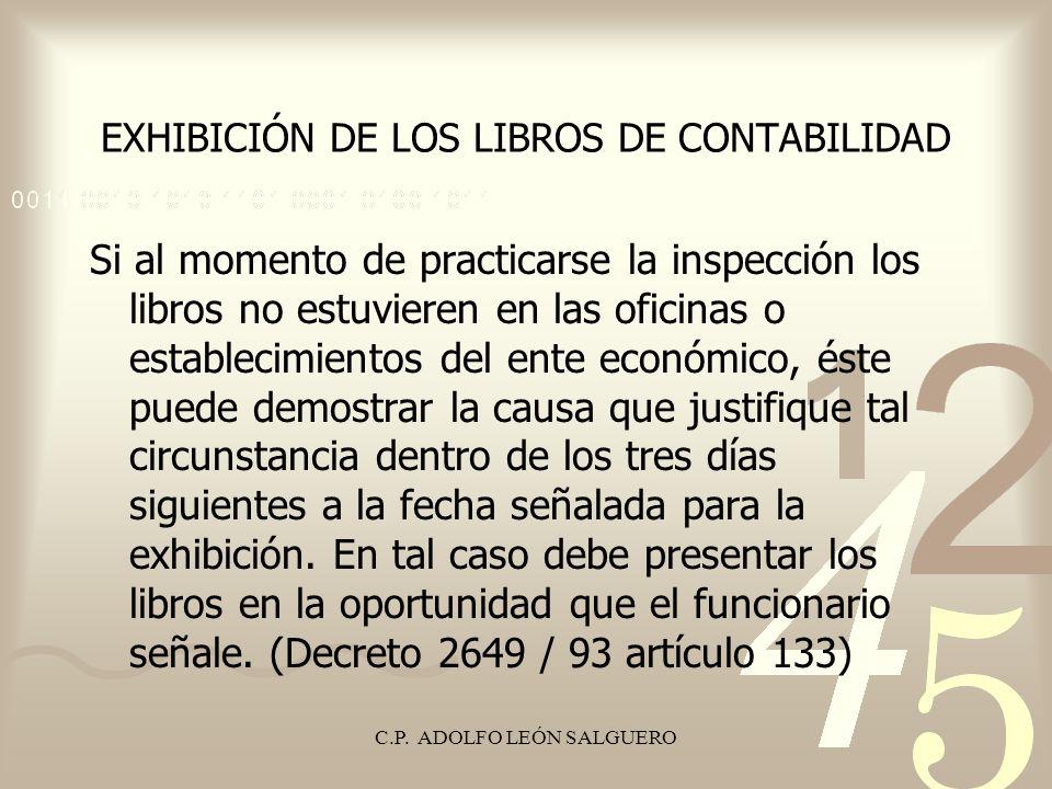C.P. ADOLFO LEÓN SALGUERO EXHIBICIÓN DE LOS LIBROS DE CONTABILIDAD Si al momento de practicarse la inspección los libros no estuvieren en las oficinas