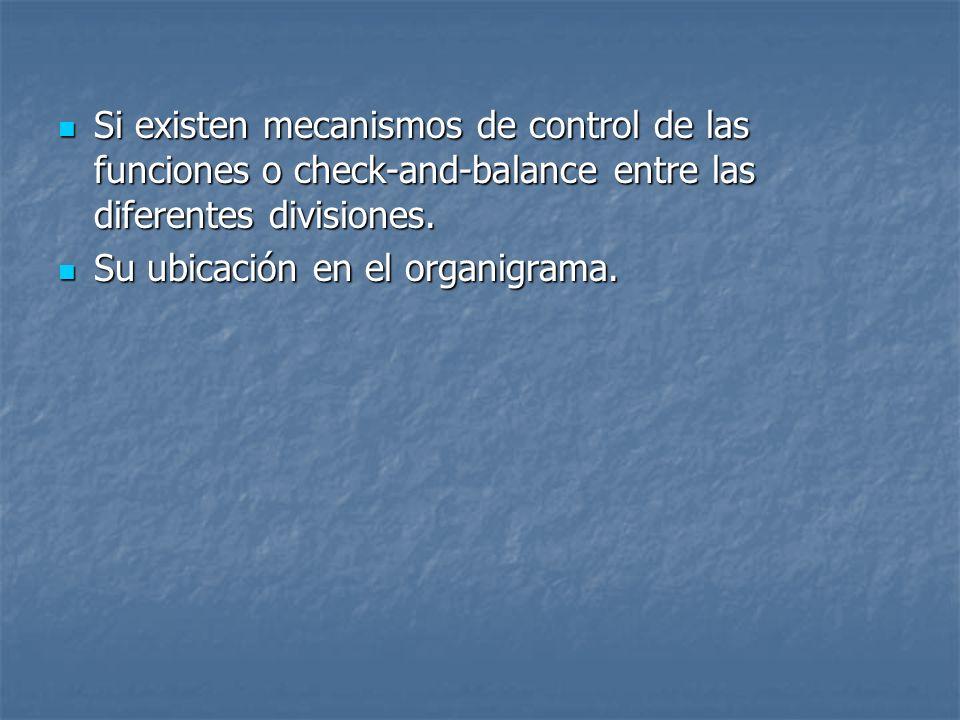 Si existen mecanismos de control de las funciones o check-and-balance entre las diferentes divisiones.