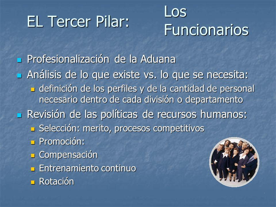 EL Tercer Pilar: Profesionalización de la Aduana Profesionalización de la Aduana Análisis de lo que existe vs.