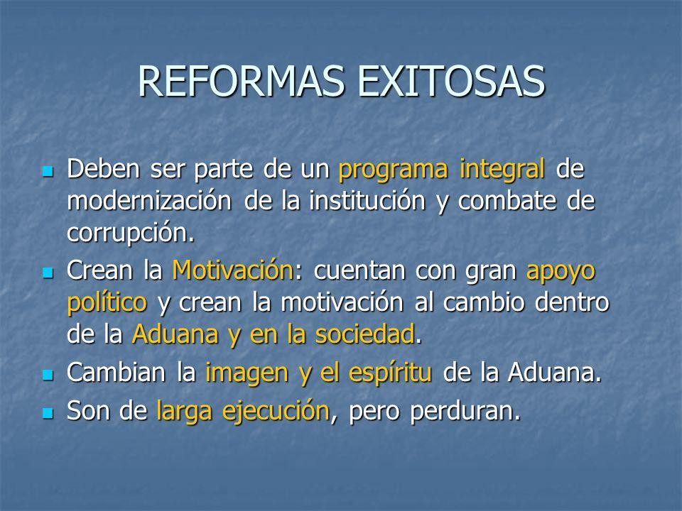 REFORMAS EXITOSAS Deben ser parte de un programa integral de modernización de la institución y combate de corrupción.