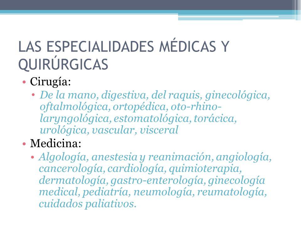 Cirugía: De la mano, digestiva, del raquis, ginecológica, oftalmológica, ortopédica, oto-rhino- laryngológica, estomatológica, torácica, urológica, vascular, visceral Medicina: Algología, anestesia y reanimación, angiología, cancerología, cardiología, quimioterapia, dermatología, gastro-enterología, ginecología medical, pediatría, neumología, reumatología, cuidados paliativos.