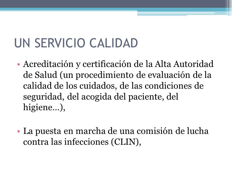 UN SERVICIO CALIDAD Acreditación y certificación de la Alta Autoridad de Salud (un procedimiento de evaluación de la calidad de los cuidados, de las condiciones de seguridad, del acogida del paciente, del higiene…), La puesta en marcha de una comisión de lucha contra las infecciones (CLIN),