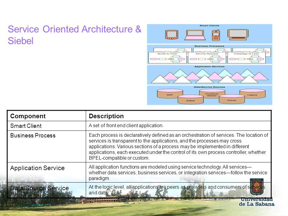 Service Oriented Architecture & Siebel ComponentDescription Smart Client A set of front end client application. Business Process Each process is decla