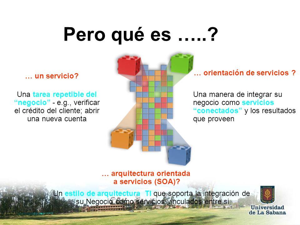 … un servicio? … arquitectura orientada a servicios (SOA)? … orientación de servicios ? Pero qué es …..? Una tarea repetible del negocio - e.g., verif