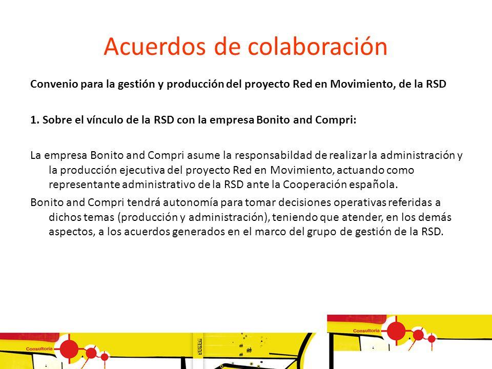 Acuerdos de colaboración Convenio para la gestión y producción del proyecto Red en Movimiento, de la RSD 1. Sobre el vínculo de la RSD con la empresa