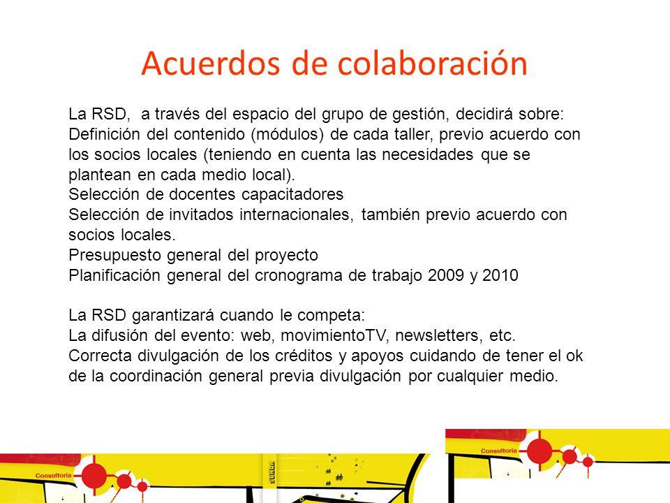 La RSD, a través del espacio del grupo de gestión, decidirá sobre: Definición del contenido (módulos) de cada taller, previo acuerdo con los socios lo