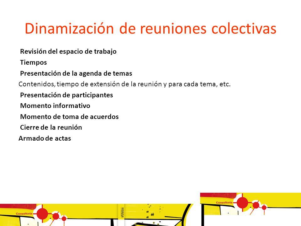Dinamización de reuniones colectivas Revisión del espacio de trabajo Tiempos Presentación de la agenda de temas Contenidos, tiempo de extensión de la
