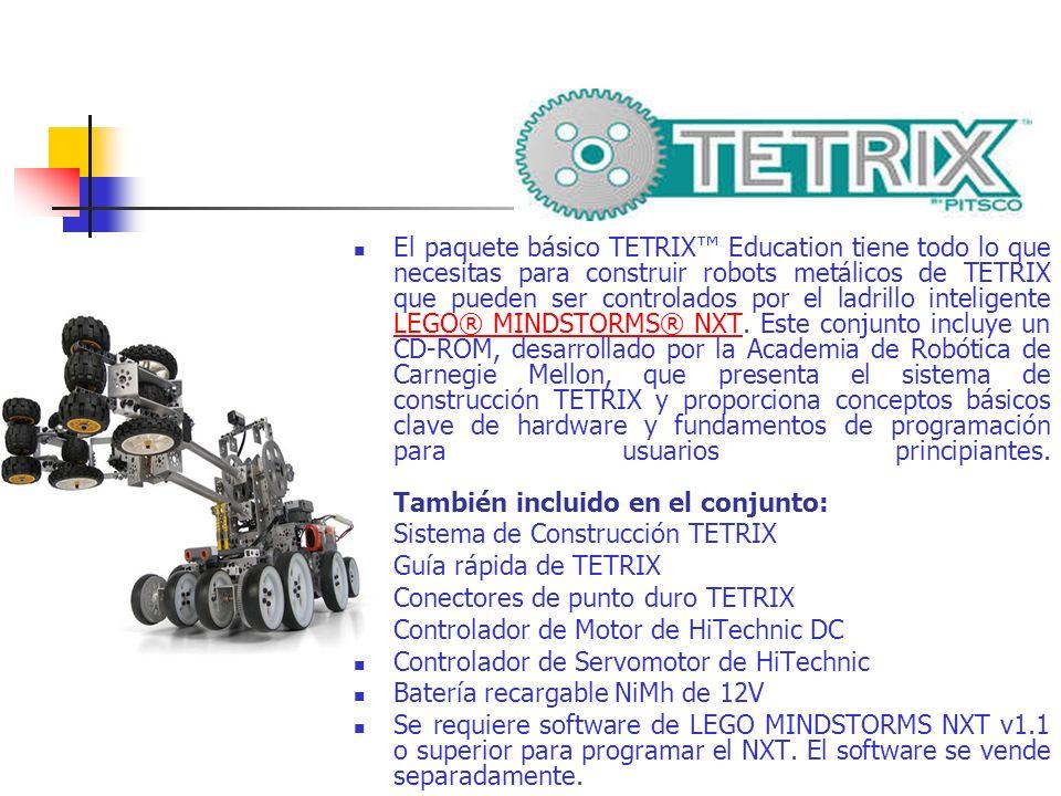 El paquete básico TETRIX Education tiene todo lo que necesitas para construir robots metálicos de TETRIX que pueden ser controlados por el ladrillo in